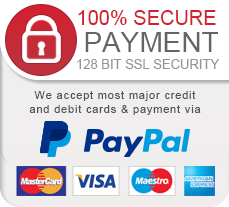 100% secure payment 128 bit ssl security we acept most major credit and debit cards & payment via Paypal